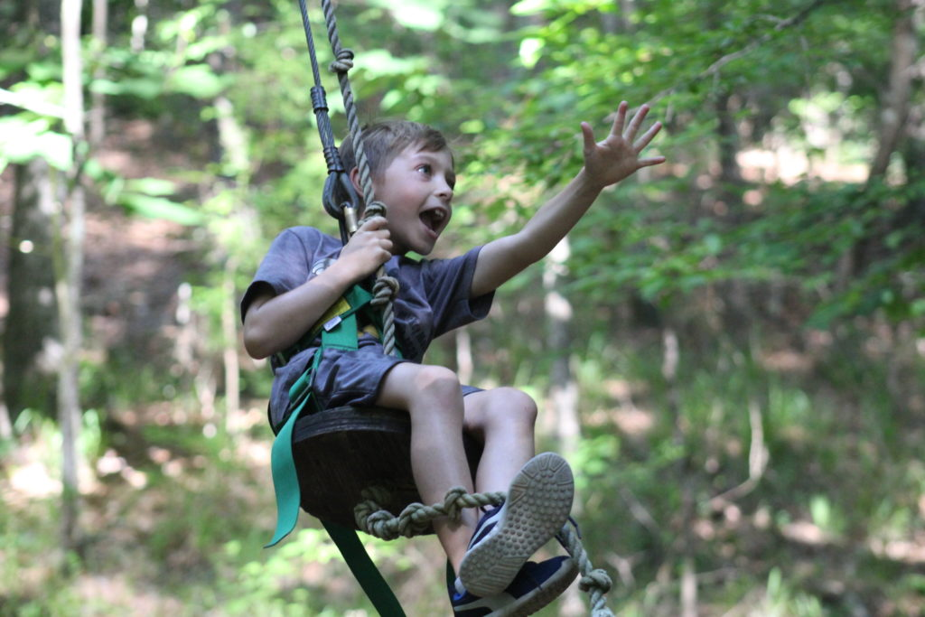 Summer Camper on the Rope Swing